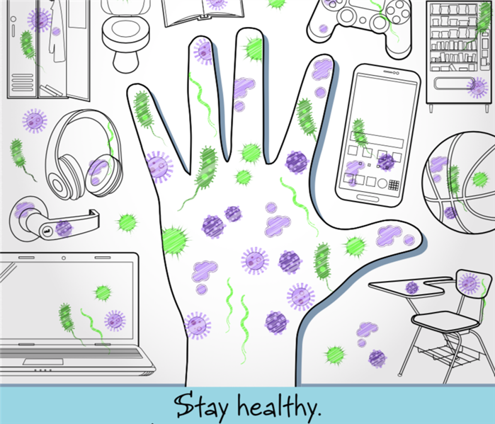 Drawing of hand and germs